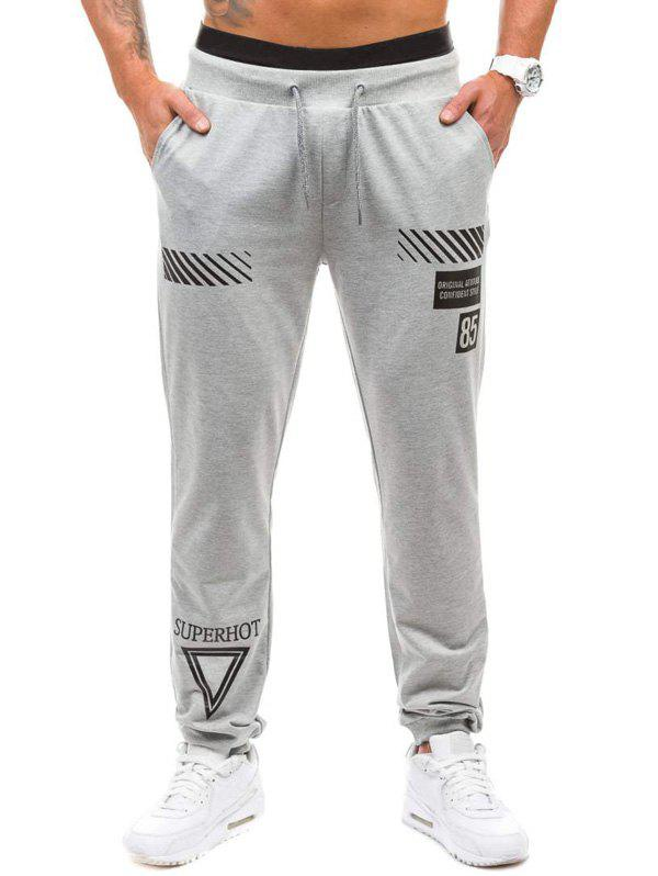 Graphic Geometric Print Jogger Pants - LIGHT GRAY XL