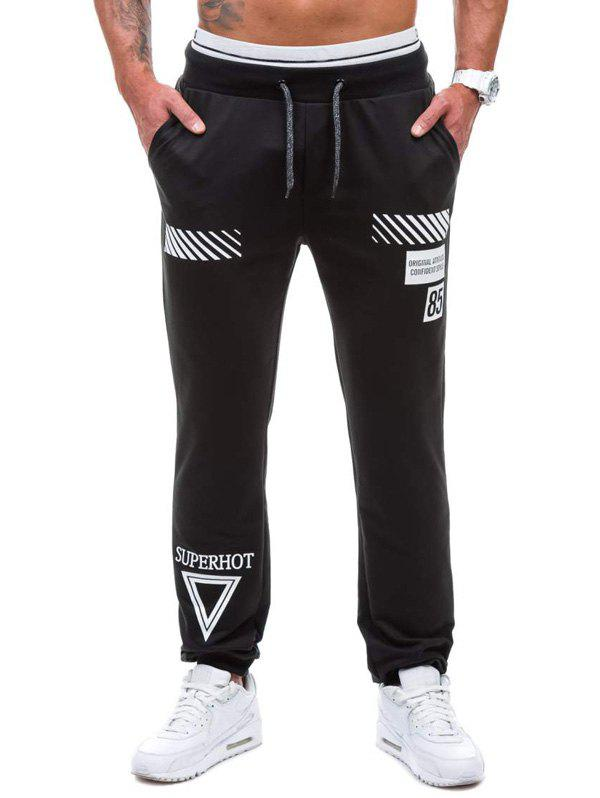 Graphic Geometric Print Jogger Pants - BLACK 2XL