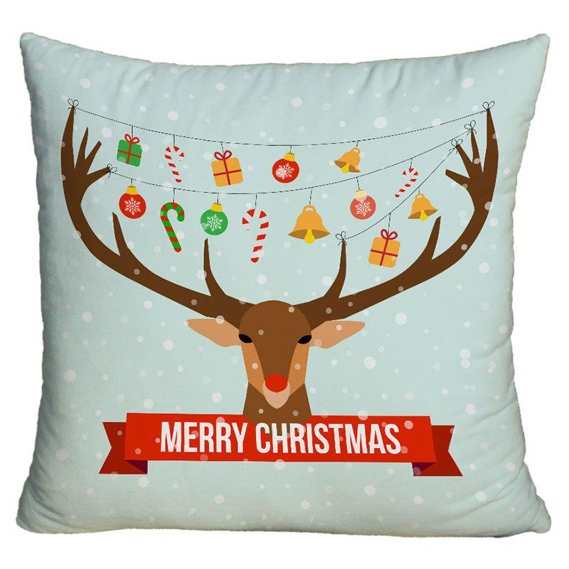 Christmas Elk Printed Cartoon Square Decorative Pillow Case - COLORMIX W18 INCH * L18 INCH