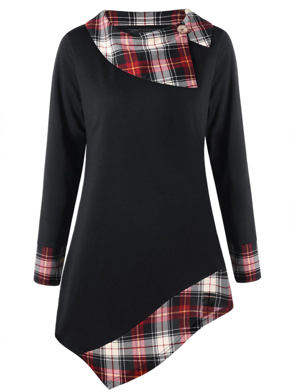 Plus Size Plaid Trim Asymmetrical Top - BLACK 5XL