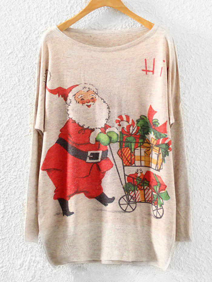 Christmas Santa Claus Print Dropped Shoulder Knitwear - BEIGE ONE SIZE