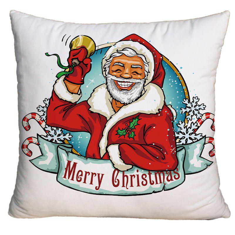 Santa Claus Pattern Christmas Square Decorative Pillow Case - WHITE W18 INCH * L18 INCH