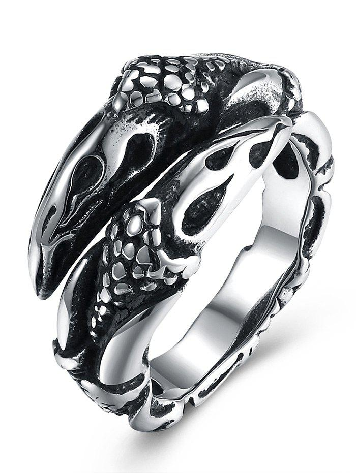 3D Eagle Carved Decorated Gothic Style Titanium Steel Ring - BLACK 8