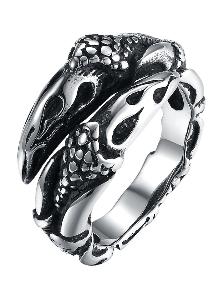 3D Eagle Carved Decorated Gothic Style Titanium Steel Ring - BLACK 11