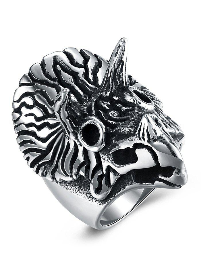 Triceratops Carving Gothic Style Titanium Steel Ring - BLACK 8