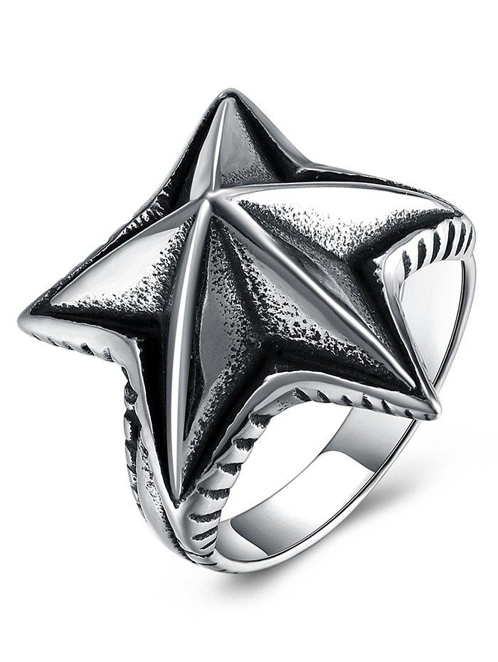 Cool Angular Star Carving Embellished Stainless Steel Ring - BLACK 12