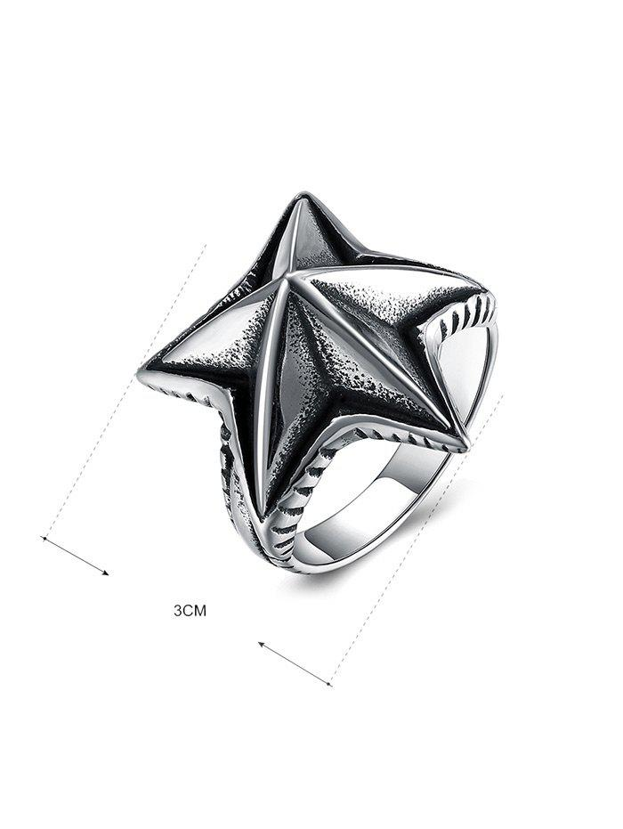 Cool Angular Star Carving Embellished Stainless Steel Ring - BLACK 8