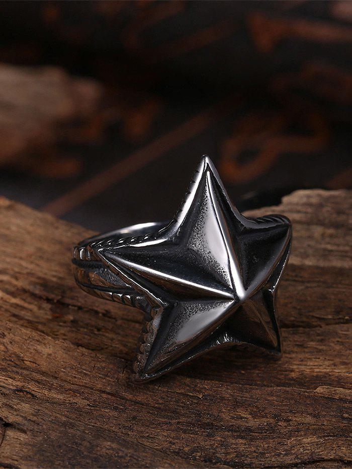 Cool Angular Star Carving Embellished Stainless Steel Ring - BLACK 9