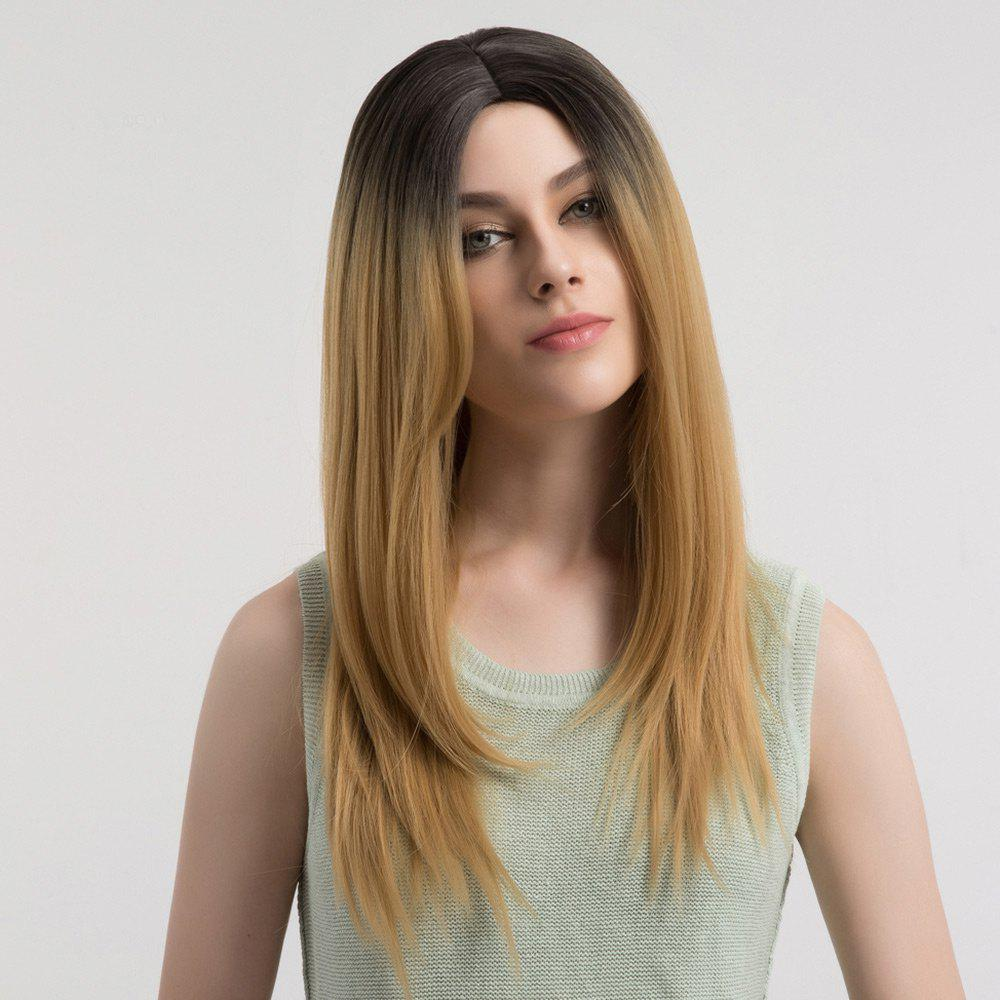 Long Ombre Center Parting Straight Synthetic Wig - DRAK BLONDE OMBRE