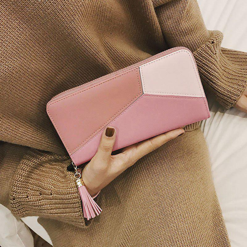 Geometric Tassel Color Block Clutch Wallet - PINK