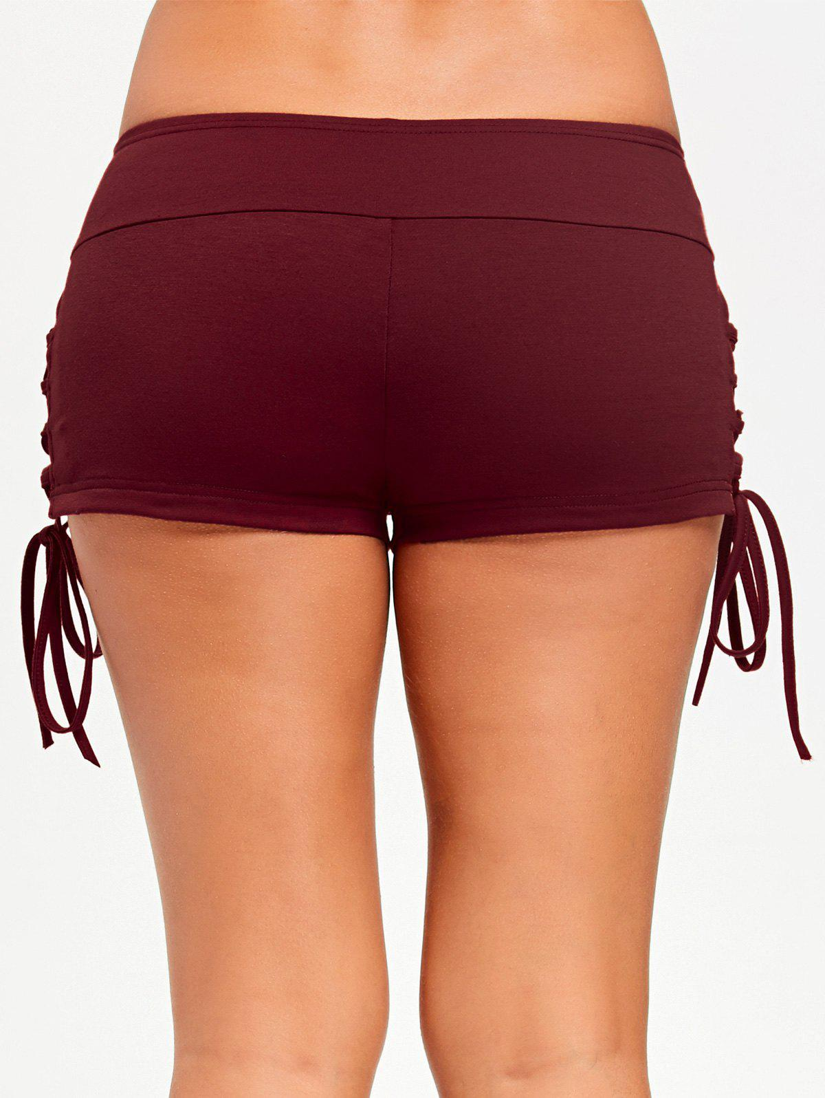 Lace Up Micro Shorts - LATERITE 2XL