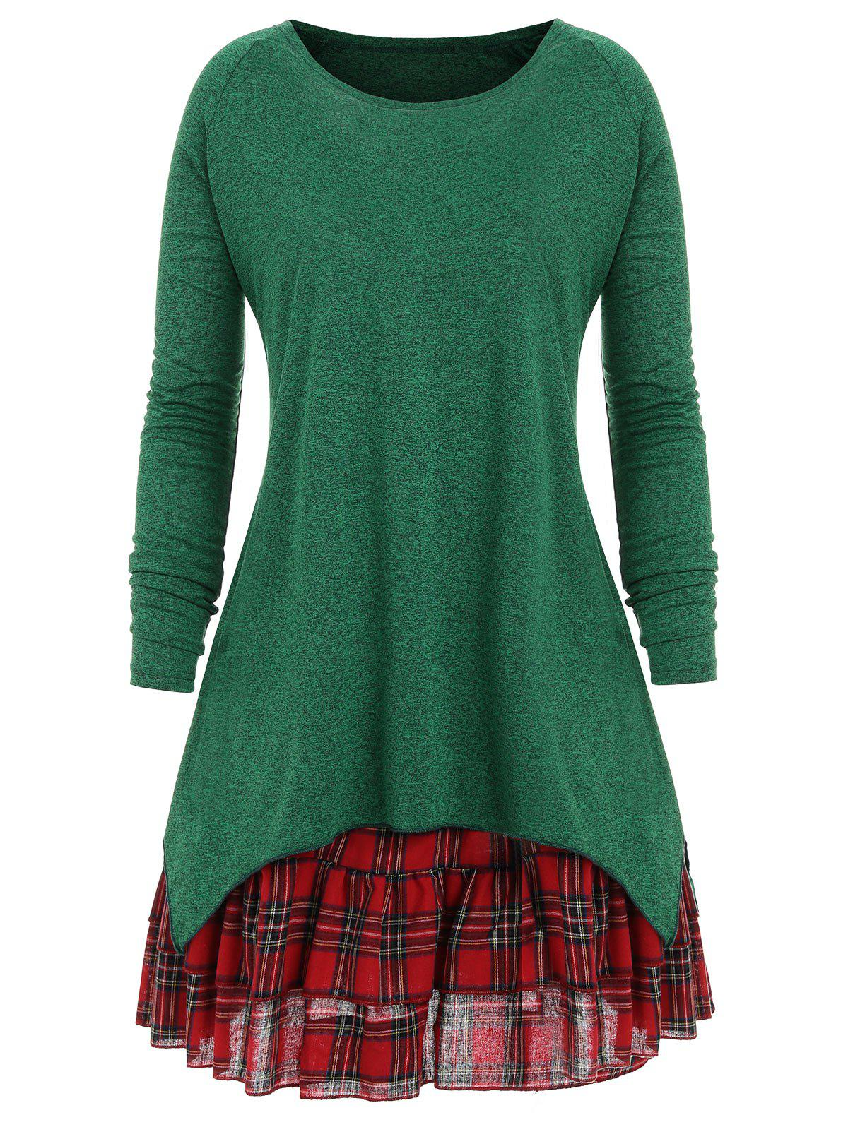 Plus Size Check Two Piece Dress - GREEN XL