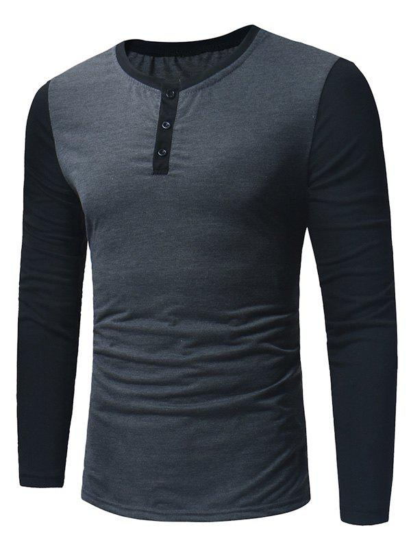 Color Block Panel Long Sleeve Henley T-Shirt - DEEP GRAY M