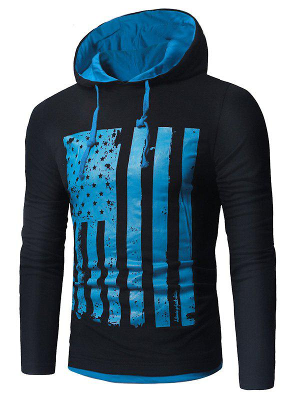 Distressed American Flag Print T-shirt - BLUE/BLACK 2XL