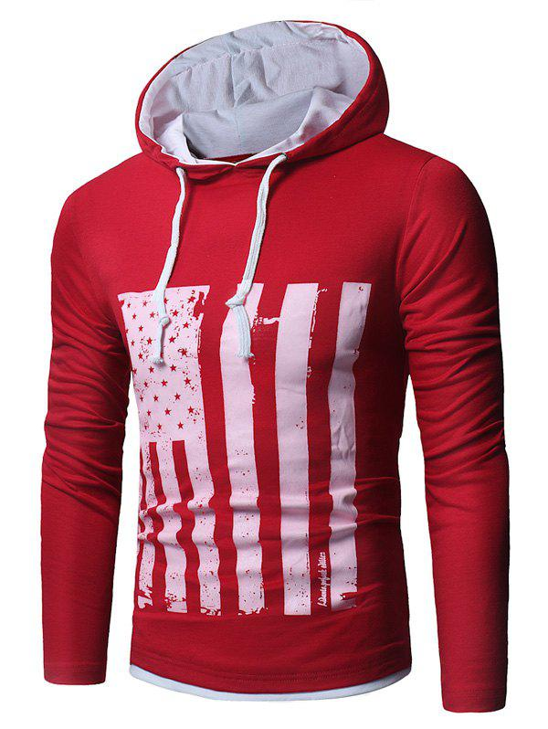 Distressed American Flag Print T-shirt - RED L