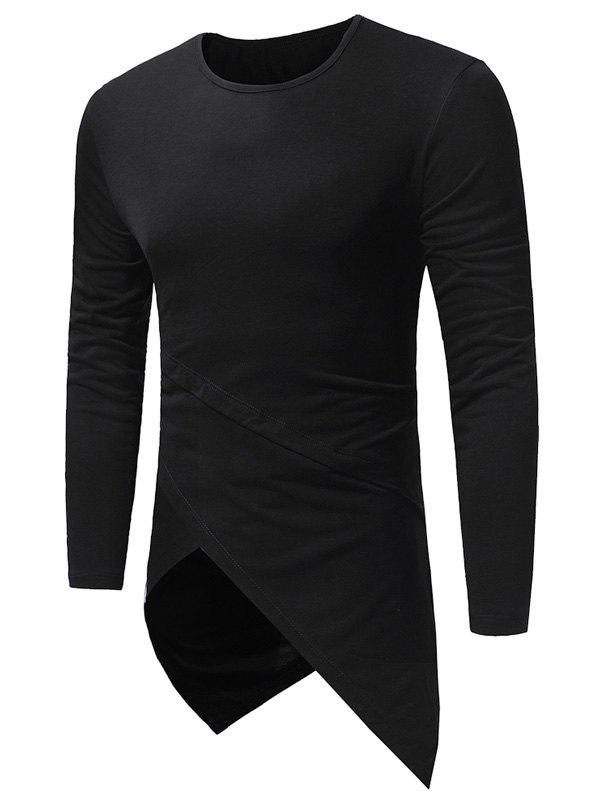 Longline Long Sleeve Asymmetric T-Shirt - BLACK 2XL