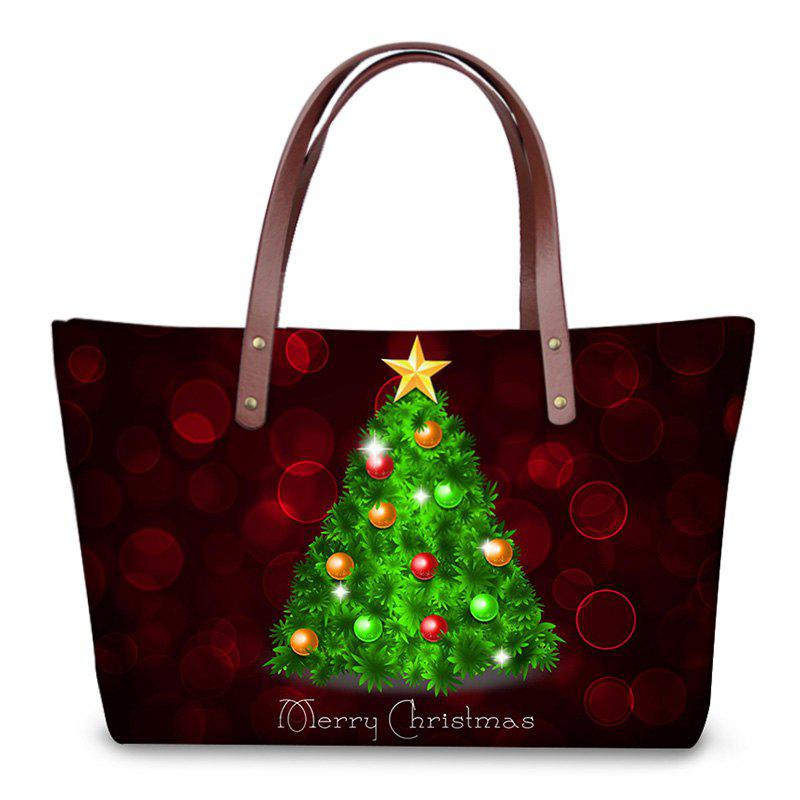 3D Christmas Prints Shoulder Bag - DEEP RED
