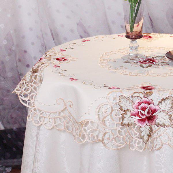 Kitchen Product Round Satin Embroidered Table Cloth - OFF WHITE 85*85CM