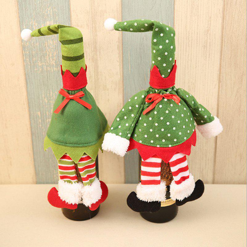 Christmas 2 Pieces Elf Clothes Wine Bottle Cover Bags - GREEN