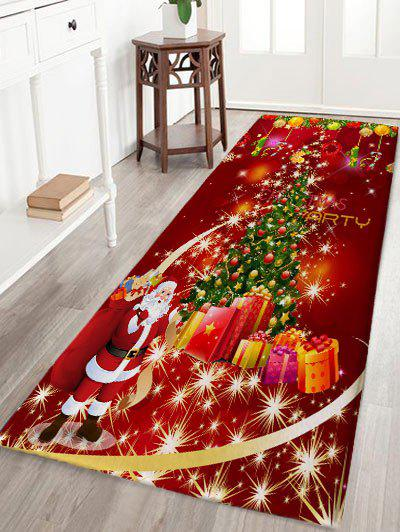 Christmas Tree Gift Santa Claus Print Skidproof Flannel Bath Mat - RED W24 INCH * L71 INCH