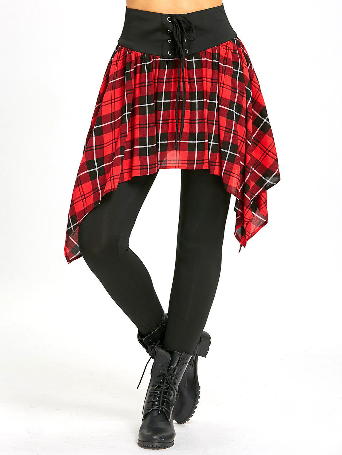 Asymmetric Plaid Lace Up Tight Skirted Leggings - BLACK/RED M