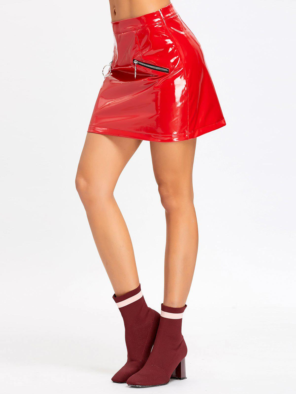 Zippers Faux Leather Mini Skirt - RED L