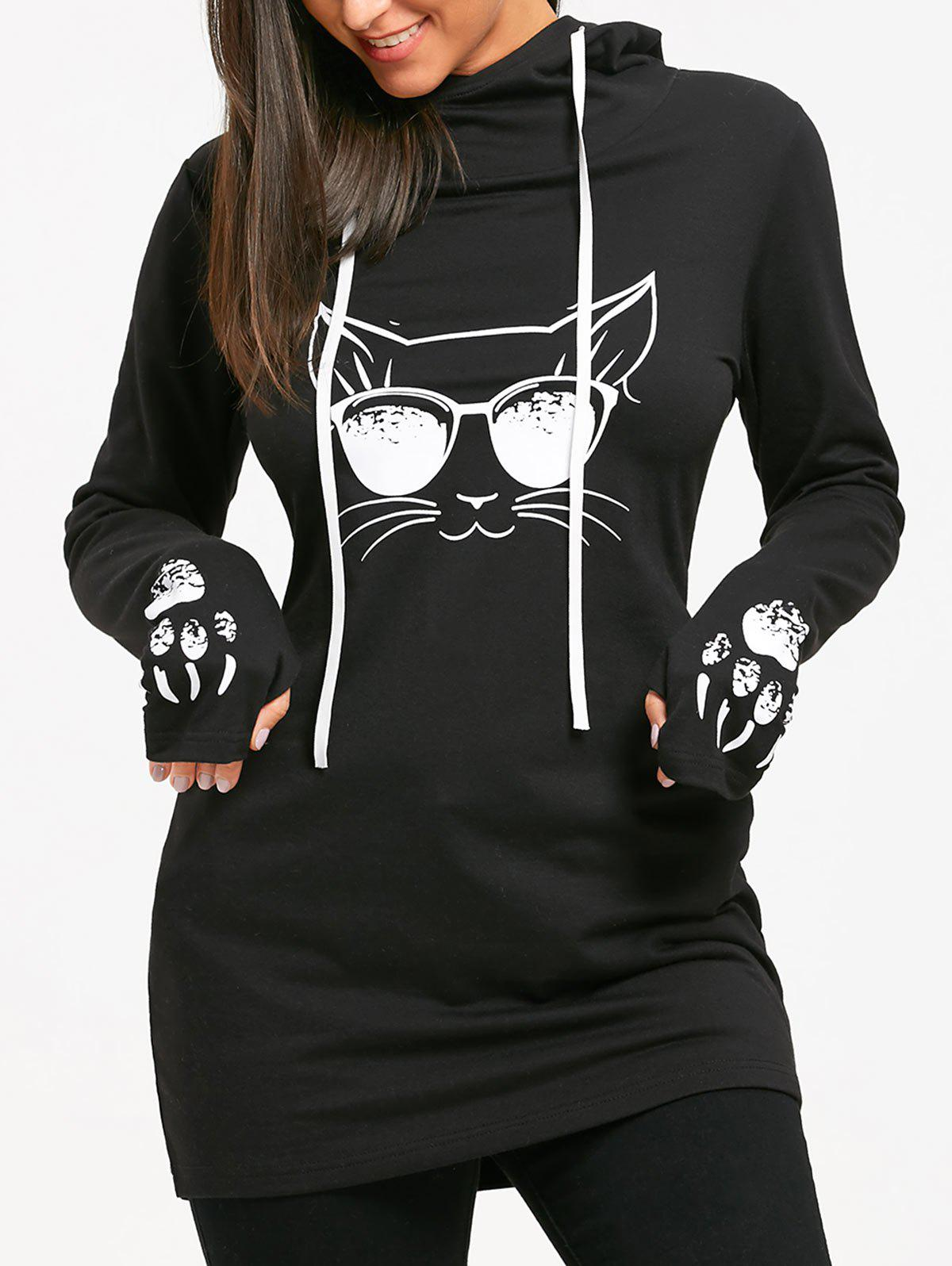 Drawstring Cat Print Tunic Hoodie - BLACK M