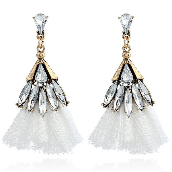 Faux Jewelry Tassel Stud Drop Earrings - WHITE