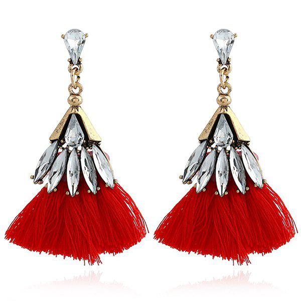 Faux Jewelry Tassel Stud Drop Earrings - RED