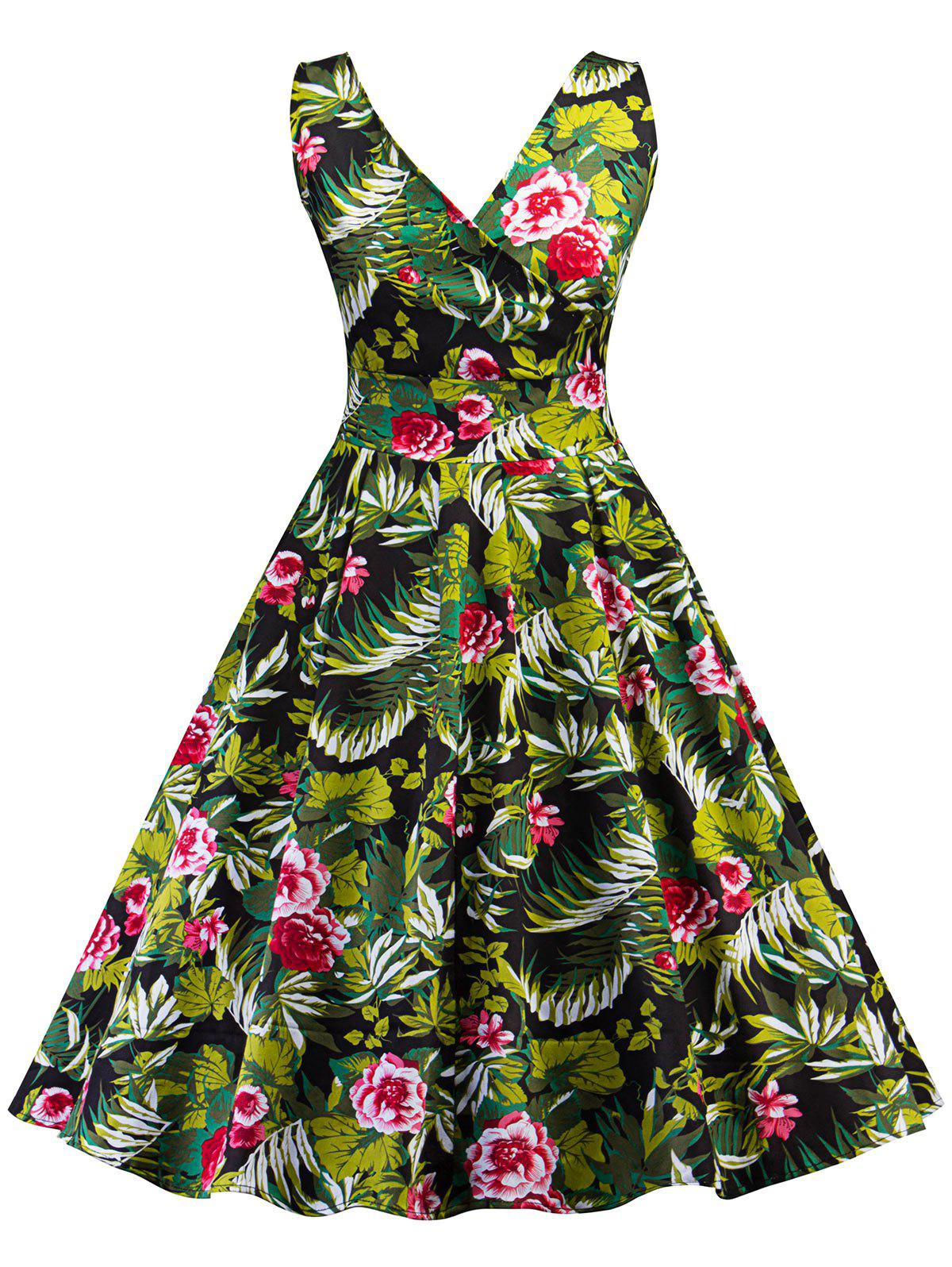 Retro Tropical Print Skater Pin Up Dress - GREEN XL