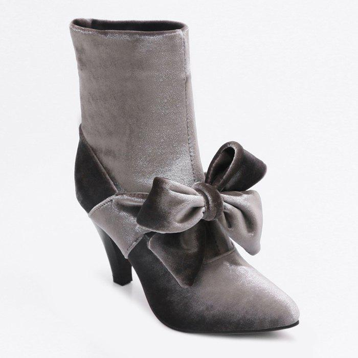 Bow Cone Heel Pointed Toe Boots - SMOKY GRAY 36