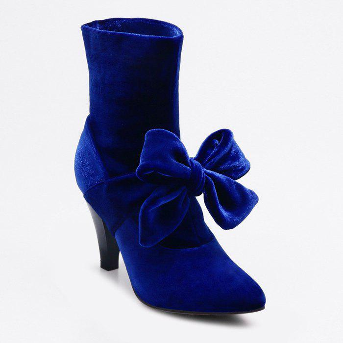 Bow Cone Heel Pointed Toe Boots - BLUE 39
