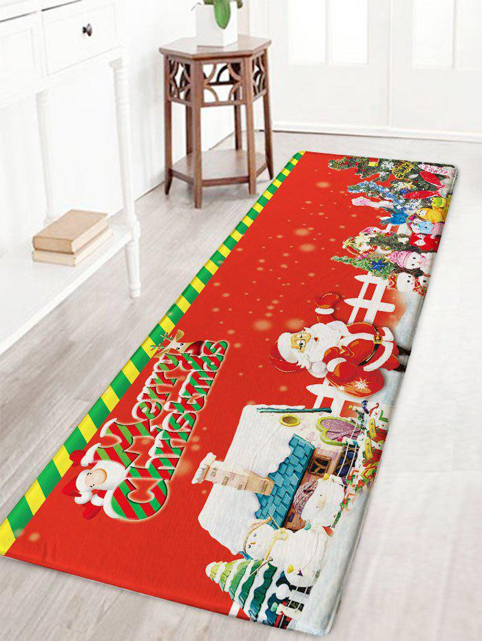 2018 Skidproof Flannel Merry Christmas Graphic Bath Mat