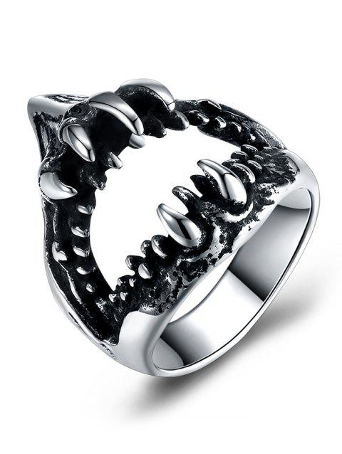 Gothic Style Teeth Decorated Stainless Steel Biker Ring - SILVER 10
