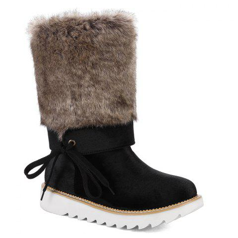 Stitching Faux Fur Mid Calf Boots - BLACK 40