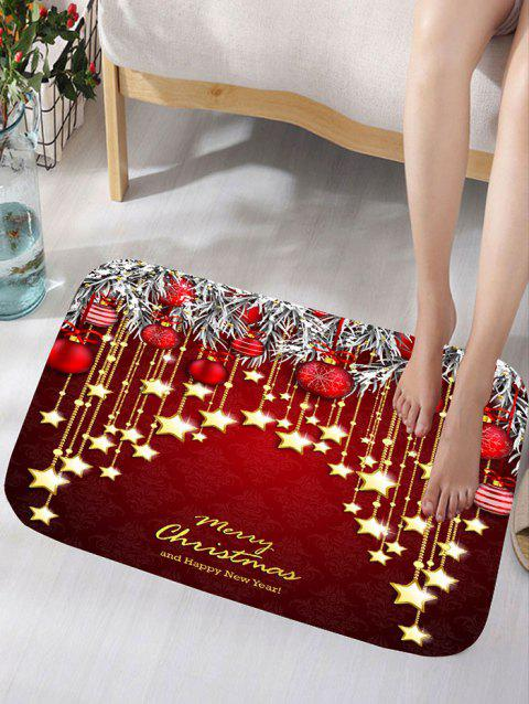 Christmas Hanging Ball Star Print Flannel Nonslip Bath Mat - DARK RED W16 INCH * L24 INCH