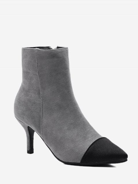 Color Block Stiletto Pointed Toe Boots - GRAY 38