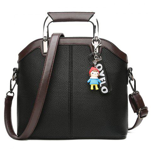 Contrasting Color Letter Cartoon Pendant Crossbody Bag - BLACK