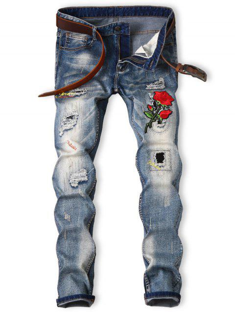 Bleached Rose Graphic Embroidered Ripped Jeans - BLUE 38
