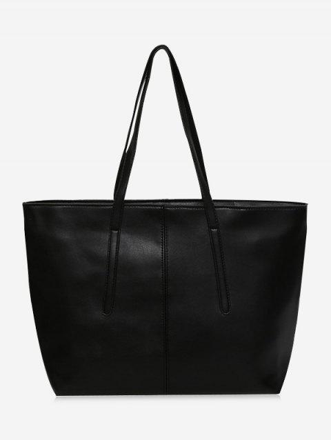 Faux Leather Stitching Zip Tote Bag - BLACK