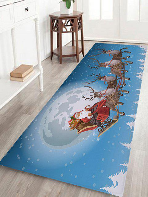 Christmas Moon Sled Print Coral Fleece Nonslip Bath Rug - SKY BLUE W24 INCH * L71 INCH