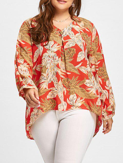 High Low Plus Size V Neck Leaf Print Blouse - RED 5XL