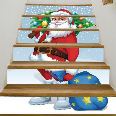 Christmas Santa Tree Pattern Stair Stickers - COLORMIX 100*18CM*6PCS
