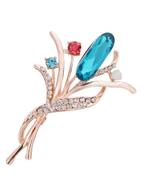 Vintage Artificial Gem and Rhinestone Decorated Brooch - BLUE