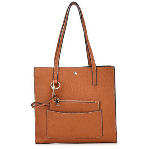 Stitching 2 Pieces Shoulder Bag Set - BROWN