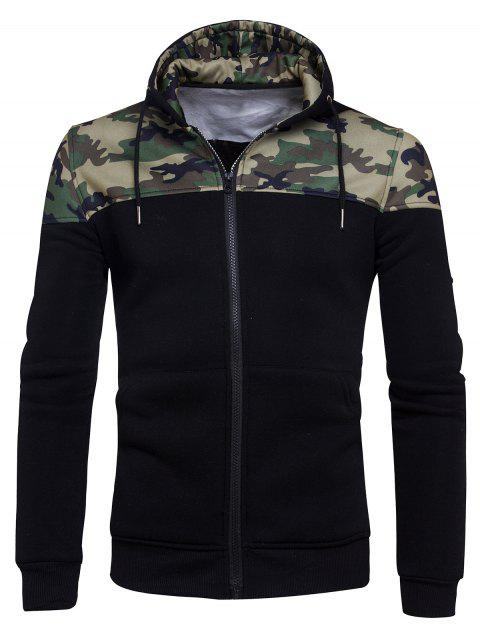 Camouflage Panel Zip Up Fleece Hoodie - BLACK L