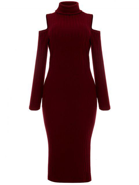 Open Shoulder Ribbed Turtleneck Bodycon Dress - WINE RED M