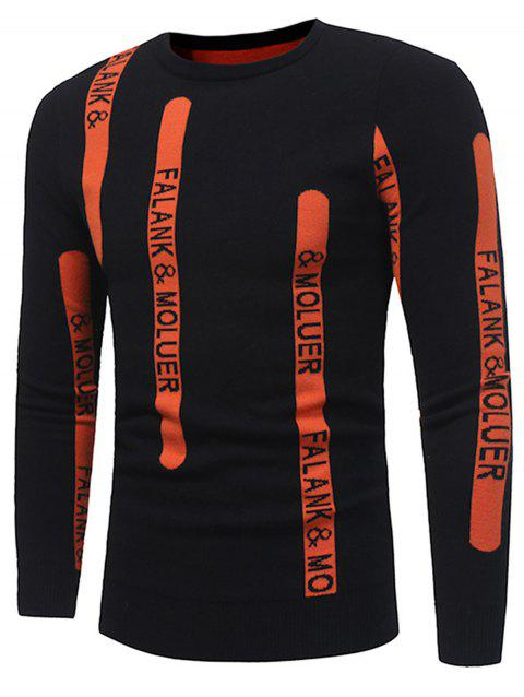 Graphic Print Ribbed Pullover Sweater - BLACK 2XL
