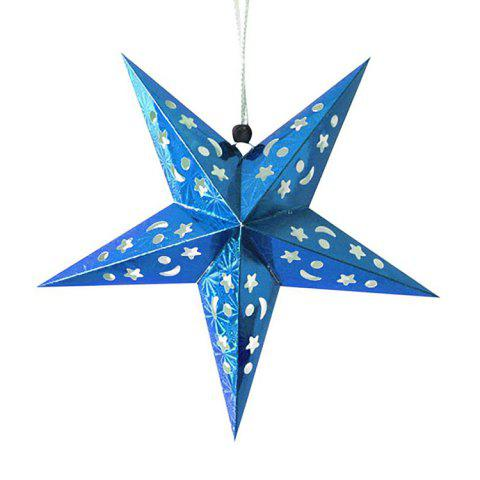 Christmas Star Shape Party Laser Hang Decorations 10Pcs - BLUE