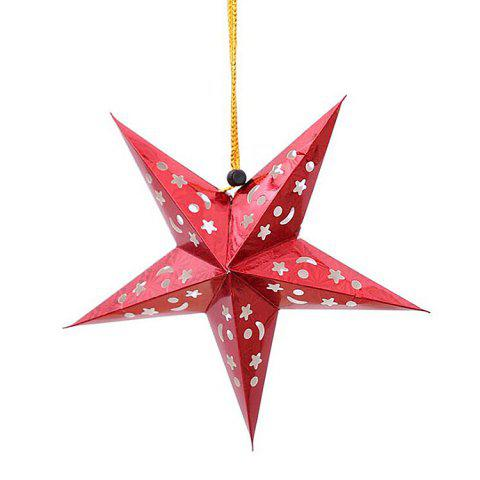 christmas star shape party laser hang decorations 10pcs red - Christmas Star Decorations